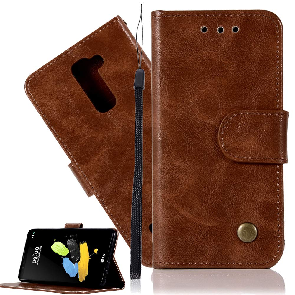 LG Stylo 2 Plus Leather Case LG LS775 Wallet Case ISADENSER Minimalist Vintage Premium Soft PU Shock Resistance with Stand Function Credit Cards Holder Money Pocket Cover For LG LS775 Retro Brown JX