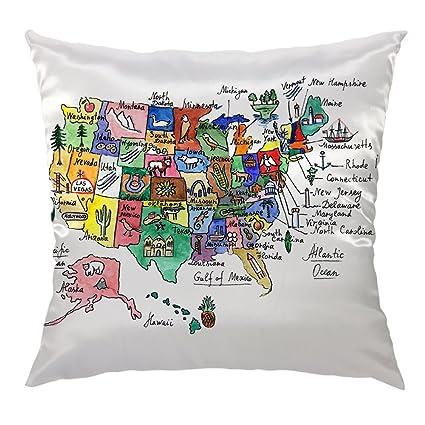 Amazon Com Moslion Map Pillow Home Decorative Throw Pillow Cover