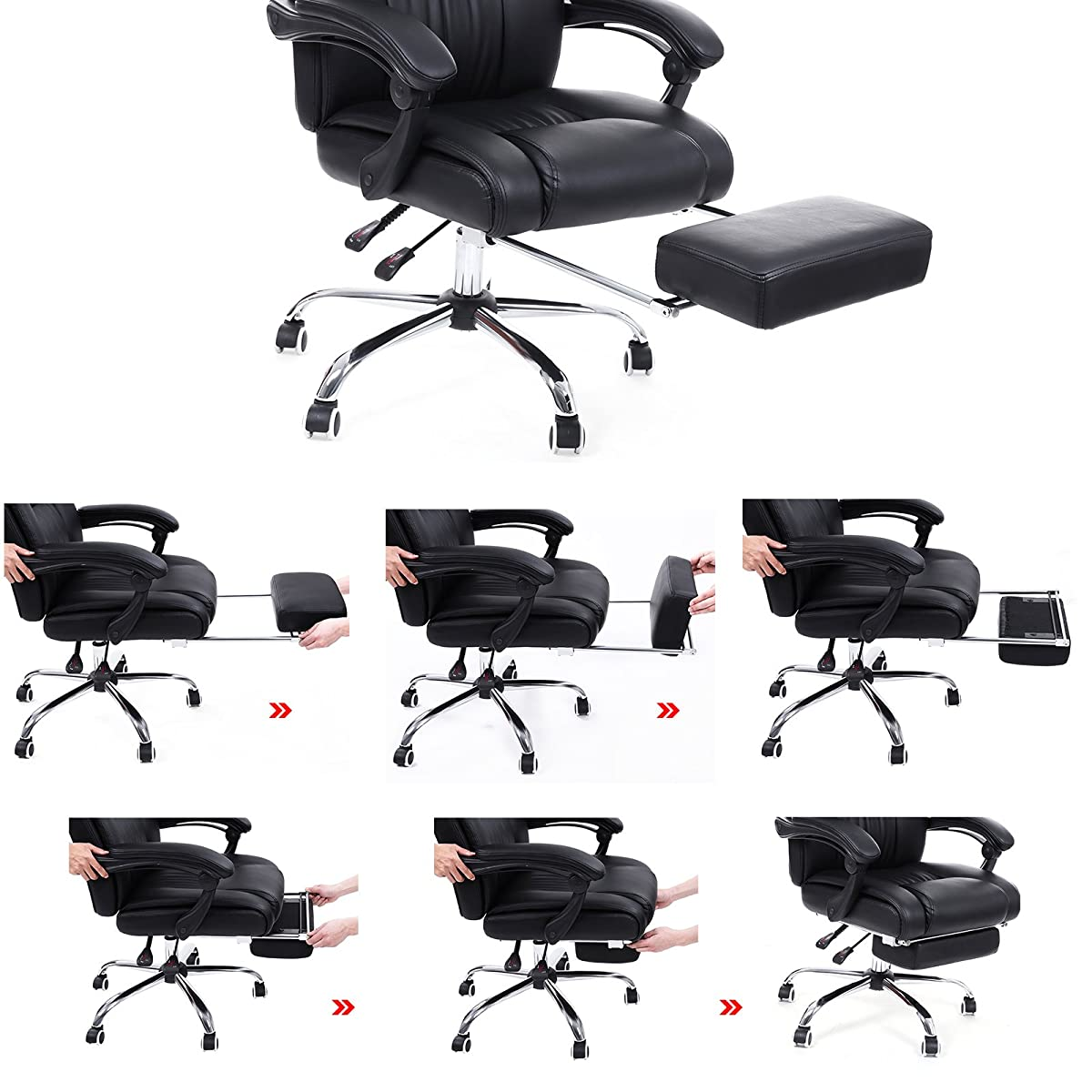 SONGMICS Extra Large Office Chair High Back Executive Swivel Chair with Large Seat and Pull-out Footrest PU Leather Black UOBG71B