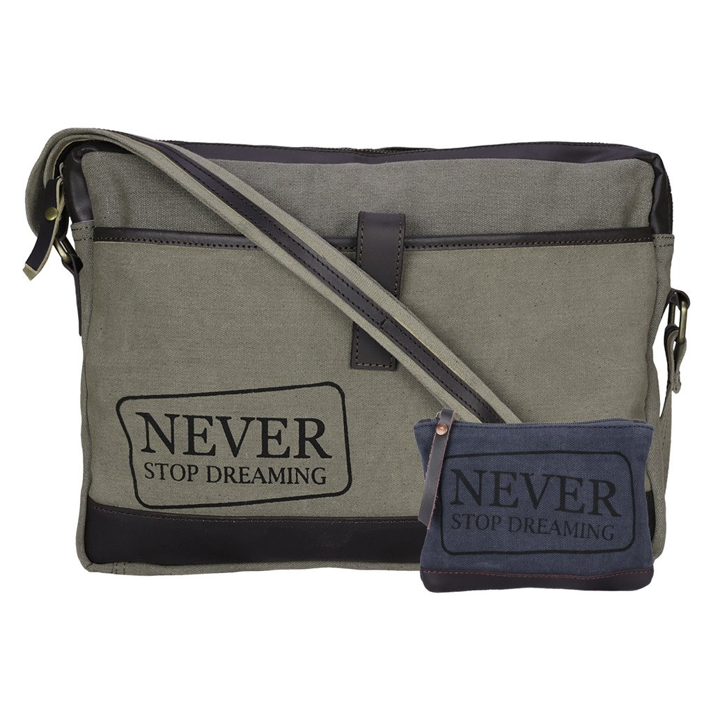 neudisレザー&リサイクルStone Washed Canvas Sleek Laptop Messenger Bag – Never Stop Dreaming – グリーン B06ZY726S2