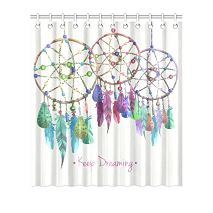 FUNNY KIDSHOME Vintage Hand Drawing Dream Catcher Shower Curtain Waterproof Polyester Peva For