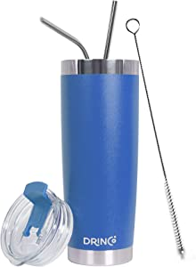 DRINCO - 20 oz Stainless Steel Tumbler | Double Walled Vacuum Insulated Mug With Spill Proof Lid, 2 Straws, For Hot & Cold Drinks (Royal Blue, 20 oz)