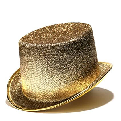 8d7ce0afb84 Amazon.com  Century Novelty Gold Glitter Top Hat  Toys   Games