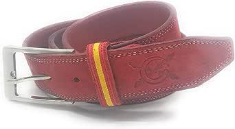 La Flamenca de Borgoña Cinturón piel rojo bandera España: Amazon.es: Ropa y accesorios