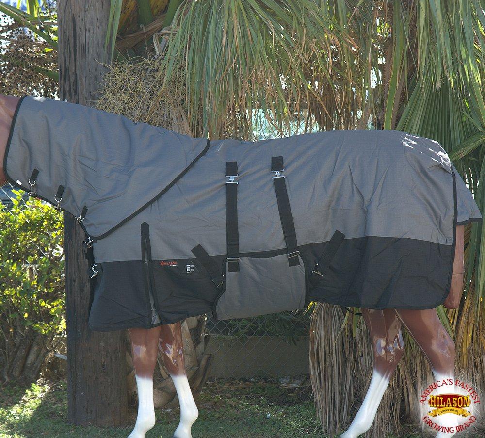 HILASON 72'' 1200D WATERPROOF WINTER HORSE NECKCOVER BLANKET BELLY WRAP GREY