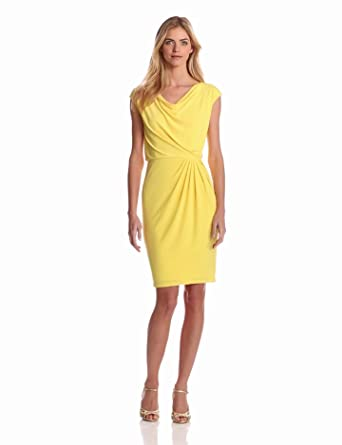 Evan Picone Women's Matte Jersey Cowl Neck Cap Sleeve Blouson Dress, Yellow, 4