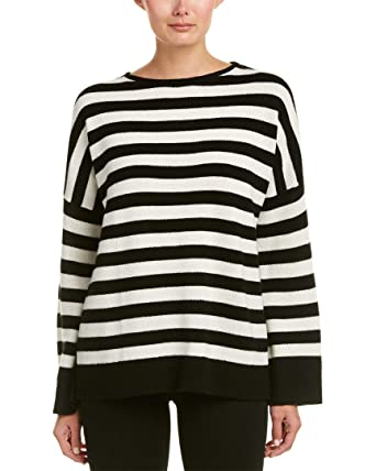 The Kooples Womens Striped Cashmere Sweater, M, White at Amazon ...