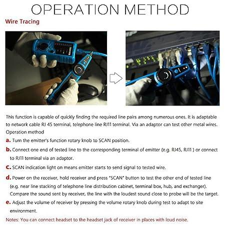 ELEGIANT Red Ethernet LAN Teléfono RJ45 RJ11 Detector de Cables Alambre Trazador de Cable Tester Detector (No incluir batería): Amazon.es: Electrónica