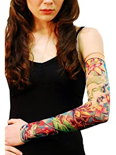 27bfec9ca Wild Rose Unisex PRAYER Single Tattoo Mesh Sleeve Buddha Lotus Flower Koi  Blue