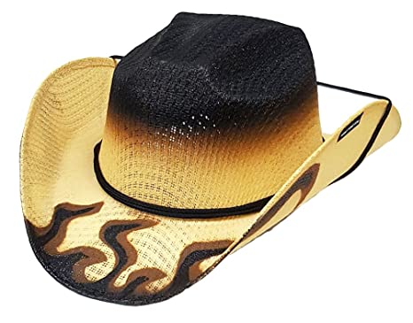 6f3d26b1282dc5 Image Unavailable. Image not available for. Colour: Modestone Boy's Straw  Cowboy Hat Hot Rod Flames Chinstring Beige