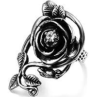 JewelryWe ハロウィン アクセサリー: メンズ リング 指輪, アンティーク風 ゴシック バラ 薔薇 ローズ, ジルコニア ダイヤ, ステンレス, カラー:シルバー(銀);[ギフトバッグを提供]