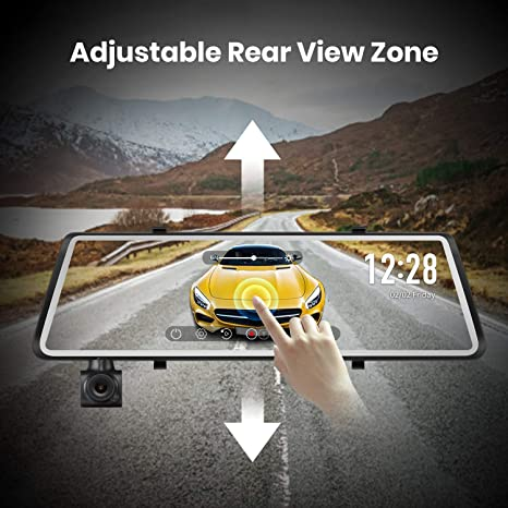 Auto Vox A1 Dashcam Car Rear View Camera Dual Dvr Dash Cam 9 88 Inch 1080p Full Hd Touch Screen Rear View Mirror 270 Rotatable Front Camera Ip68 Waterproof Night Vision Wdr Parking Mode Motion