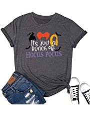 MYHALF It's Just A Bunch of Hocus Pocus T Shirt for Women Funny Halloween Sanderson Sisters Tee Tops