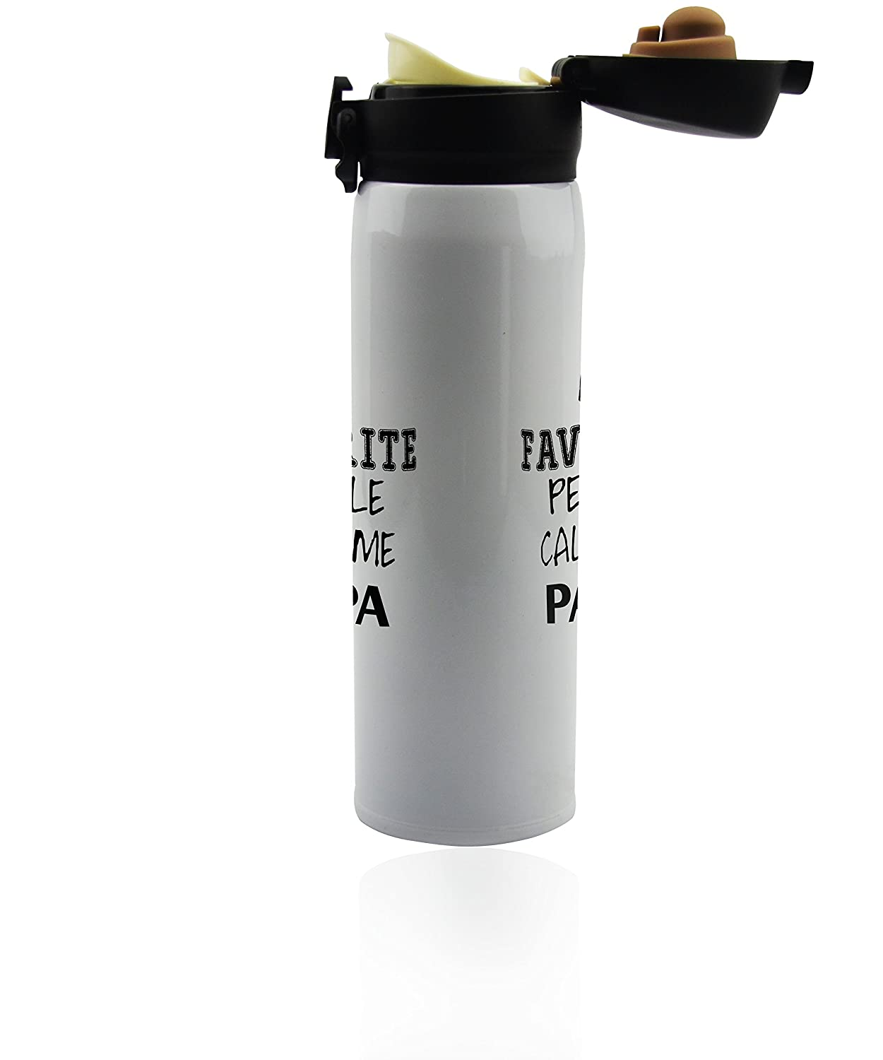 Stainless steel insulated thermo bottle 500 ml Double-walled coffee gifts. 17 oz. Travel tumbler mug for hot or cold beverage fathers vacuum flask Papa thermos Fathers day gift idea