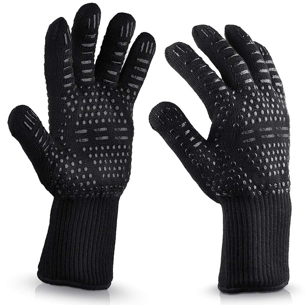 Heat-resistant Barbecue Gloves, Food-grade Kitchen Oven Gloves, Elastic Silicone Non-slip Cooking Gloves, Suitable For Barbecue(1 Pair) (Color : Black, Size : 33cm)