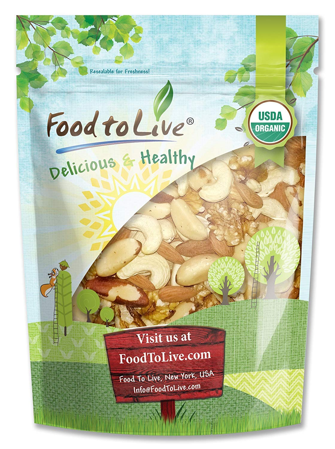 Healthy Mix of Certified Organic Raw Nuts by Food to Live (Cashews, Brazil Nuts, Walnuts, Almonds), Unsalted, Bulk — 4 Pounds