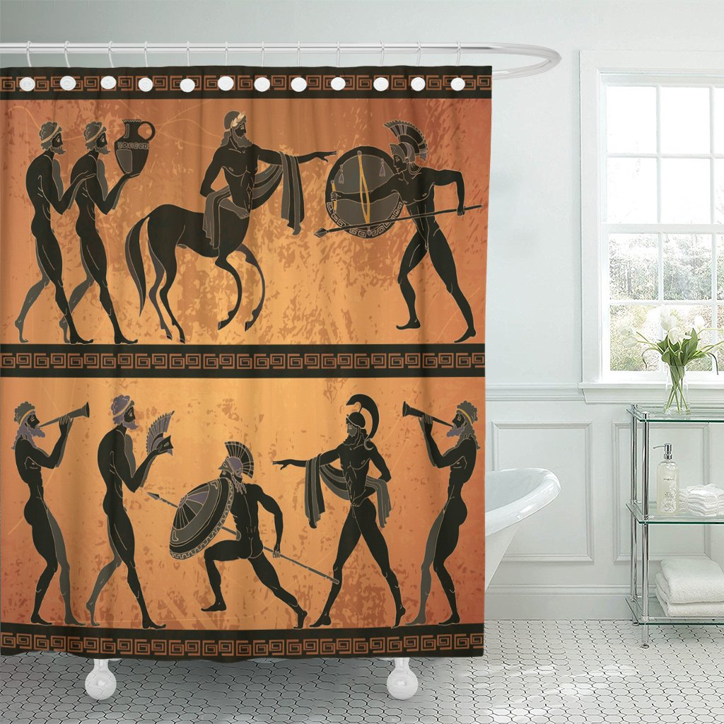 Amazon com: Emvency Shower Curtain Ancient Greece Scene Black Figure