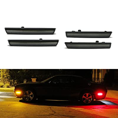 iJDMTOY Smoked Lens Amber/Red Full LED Side Marker Light Kit Compatible With 2015-2020 Dodge Challenger, Powered by Total 180-SMD LED, Replace OEM Sidemarker Lamps: Automotive