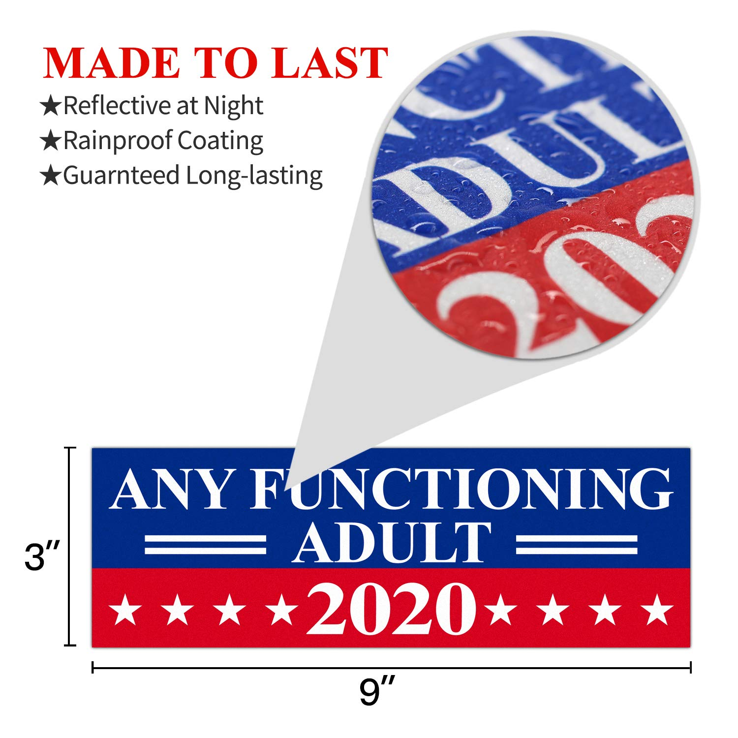 Amazon com anley 9 x 3 inch any functioning adult 2020 decal car and truck reflective bumper stickers 2020 united states presidential election 3