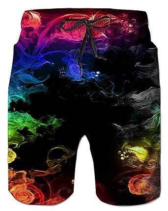 7c44475486e Alistyle Mens Summer 3D Print Colorful Smoke Pattern Hawaiian Beach Shorts  Small