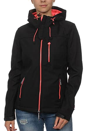 Superdry Jacke Damen SD HOODED WINDTREKKER Black Fluro Coral