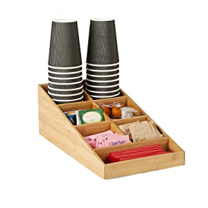 Mind Reader Coffee Condiment and Accessories Organizer, 7 Compartments, Brown