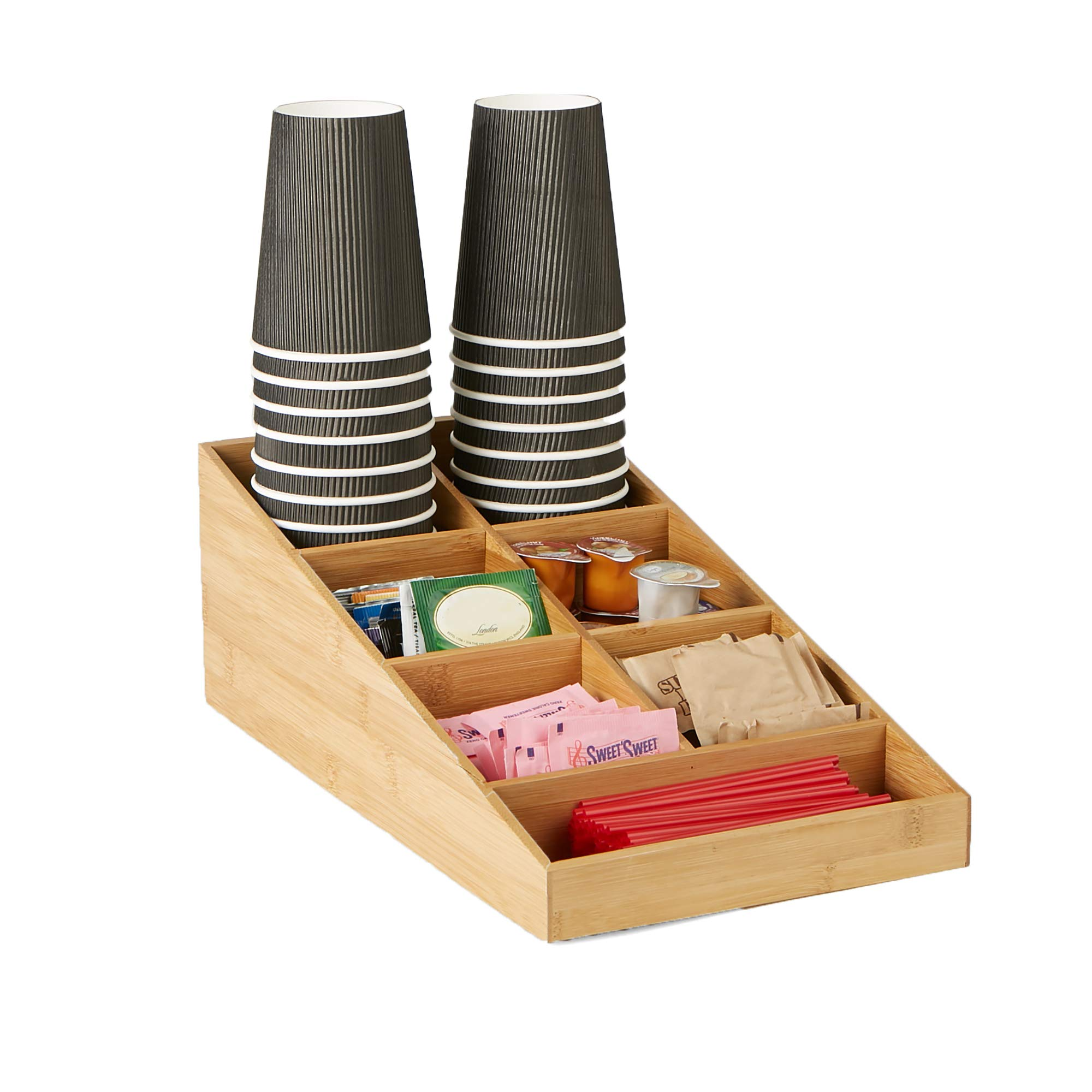 Mind Reader Coffee Condiment and Accessories Organizer, 7 Compartments, Brown by Mind Reader (Image #1)