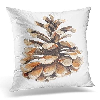 Amazon Sdamas Decorative Pillow Cover Brown Pinecone Watercolor Best Pine Cone Decorative Pillows