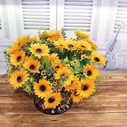amazon com yinhua artificial sunflower silk flowers bouquet home rh amazon com silk floral centerpieces for tables silk floral centerpieces