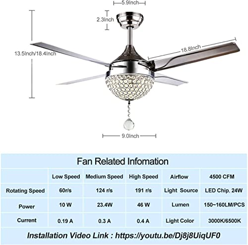 44″ Modern Crystal Ceiling Fan