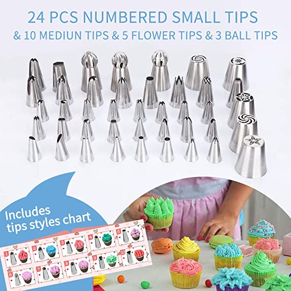 1 Coupler 1 Scissor 1 Reusable Piping Bag Perfect for Cake DIY Cake Decoration Kit with 3 Cake Scrappers Winkwinky 18 Pcs Cake Piping Nozzles Set
