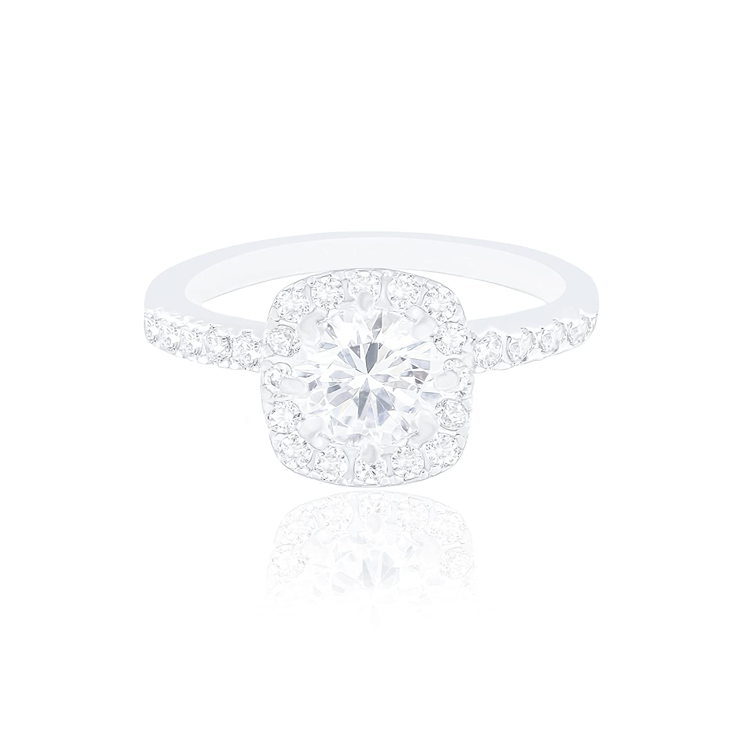18k White Gold Plated Cushion Halo Cubic Zirconia Engagement Ring (1.90 carats) ORROUS & CO