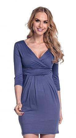 Damen Umstands-Kleid. Schwangerschafts Tulpenkleid mit Taschen. 236p (Blau 7d53ec4221