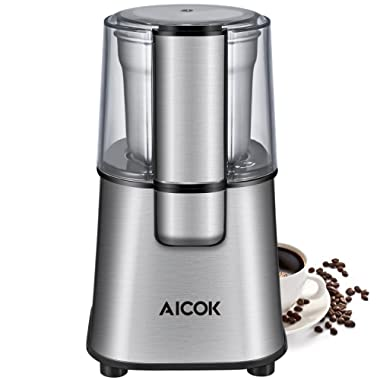 Aicok Coffee Grinder Electric Fast and Fine Fineness Coffee Blade Grinder with Removal Coffee Powder Bowl, Stainless Steel Motor Base 200W for Most Efficient Grinding, 2-year warranty
