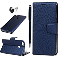 OPPO A73 Case, OPPO F5 Case, OPPO A75 / OPPO A75s Case Wallet Flip Cover Pure Color Smooth Leather Magnetic Closure Kickstand Protective Bumper Soft Inner Skin Stylus Dust Plug for OPPO A75s