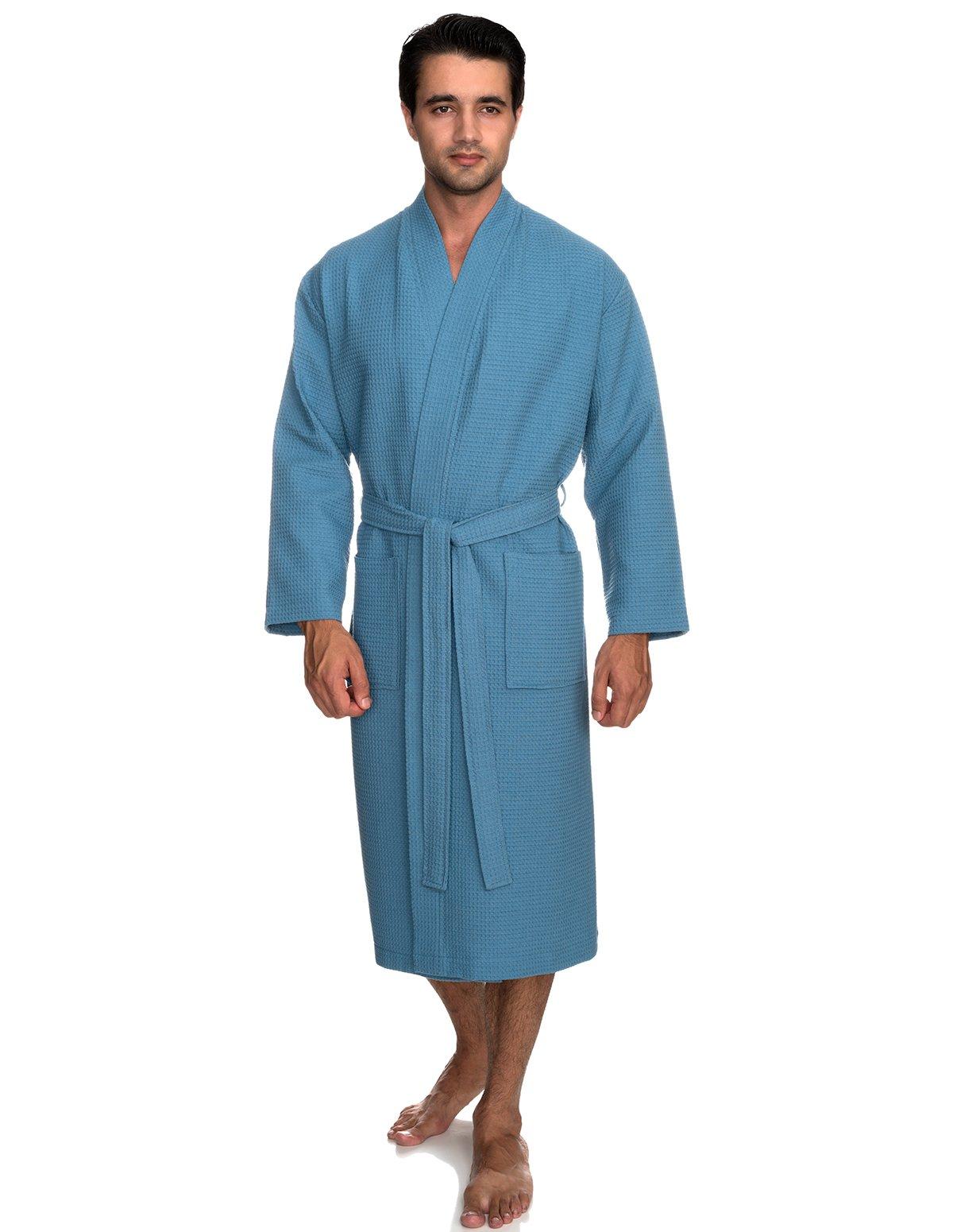 TowelSelections Men's Robe, Kimono Waffle Spa Bathrobe Large/X-Large Niagara Blue
