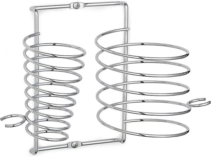 Supporto per piastra per capelli e phon con anelli per tenere in ordine i cavi