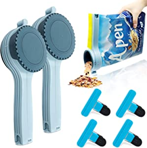 Bag Clips for food with Pouring Mouth for Large Package-Scooping or Pouring Cereal Rice Beans Flour Pets Food Plus 4 Small Chip Clips for Food Kitchen (Set of 6)