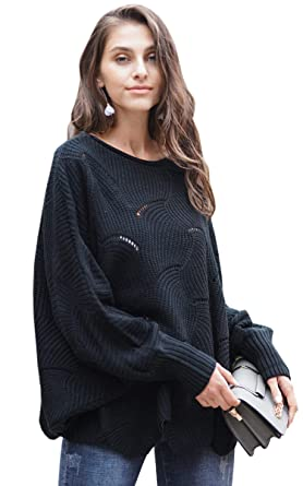 efb384ace4e ECOWISH Women s Oversized Lantern Sleeve Jumper Irregular Wave Hem Knitted  Sweater Casual Loose Pullover Tops Black
