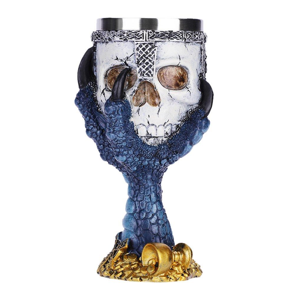 QCHOMEE Halloween Resin 3D Skull Eagle Claw Goblet Stainless Steel Drinking Mug Horror Decor Cup Halloween Prop Skull Cups Goblet Creative Skull Bar Goblet Blue