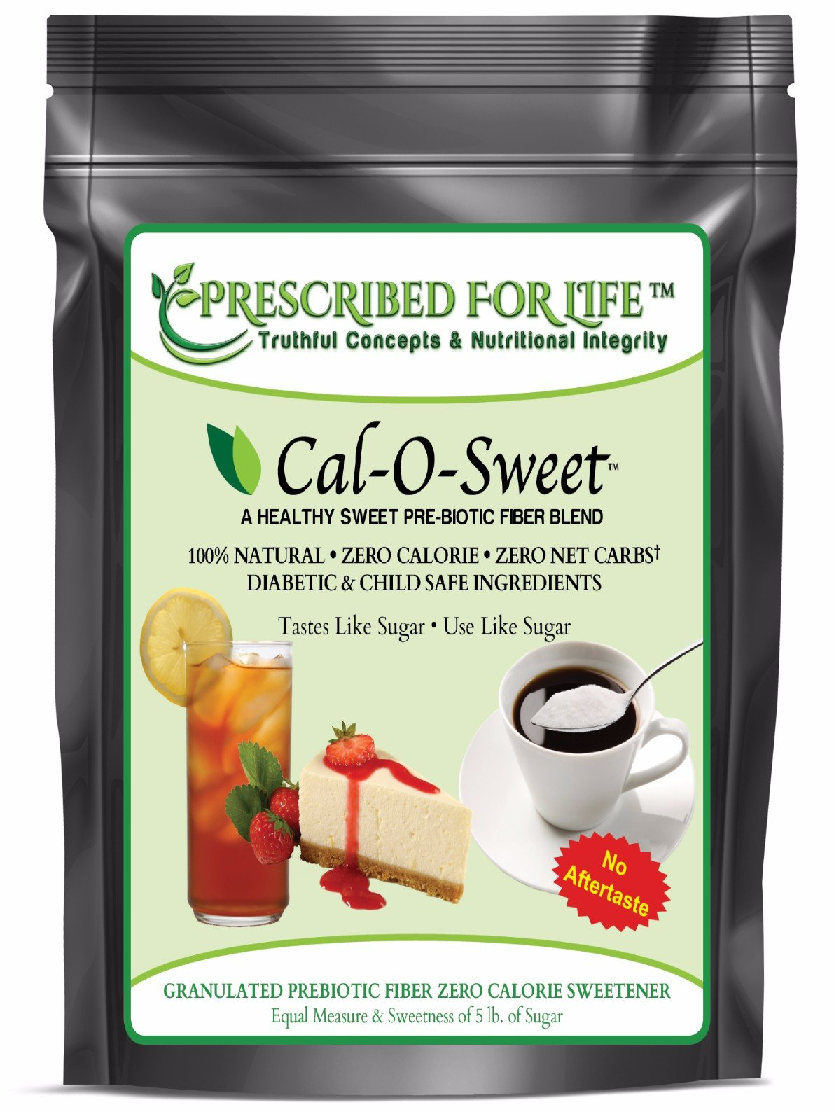 Cal-O-Sweet (TM) - NO-Aftertaste All Natural Zero Calorie & Carb Sugar-Free Sweetener & Pre-Biotic Fiber, 50 lb
