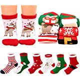 MMTX Navidad calcetín lindo de algodón Animal de dibujos animados reno de Santa Claus antideslizante Unisex 6 pares…