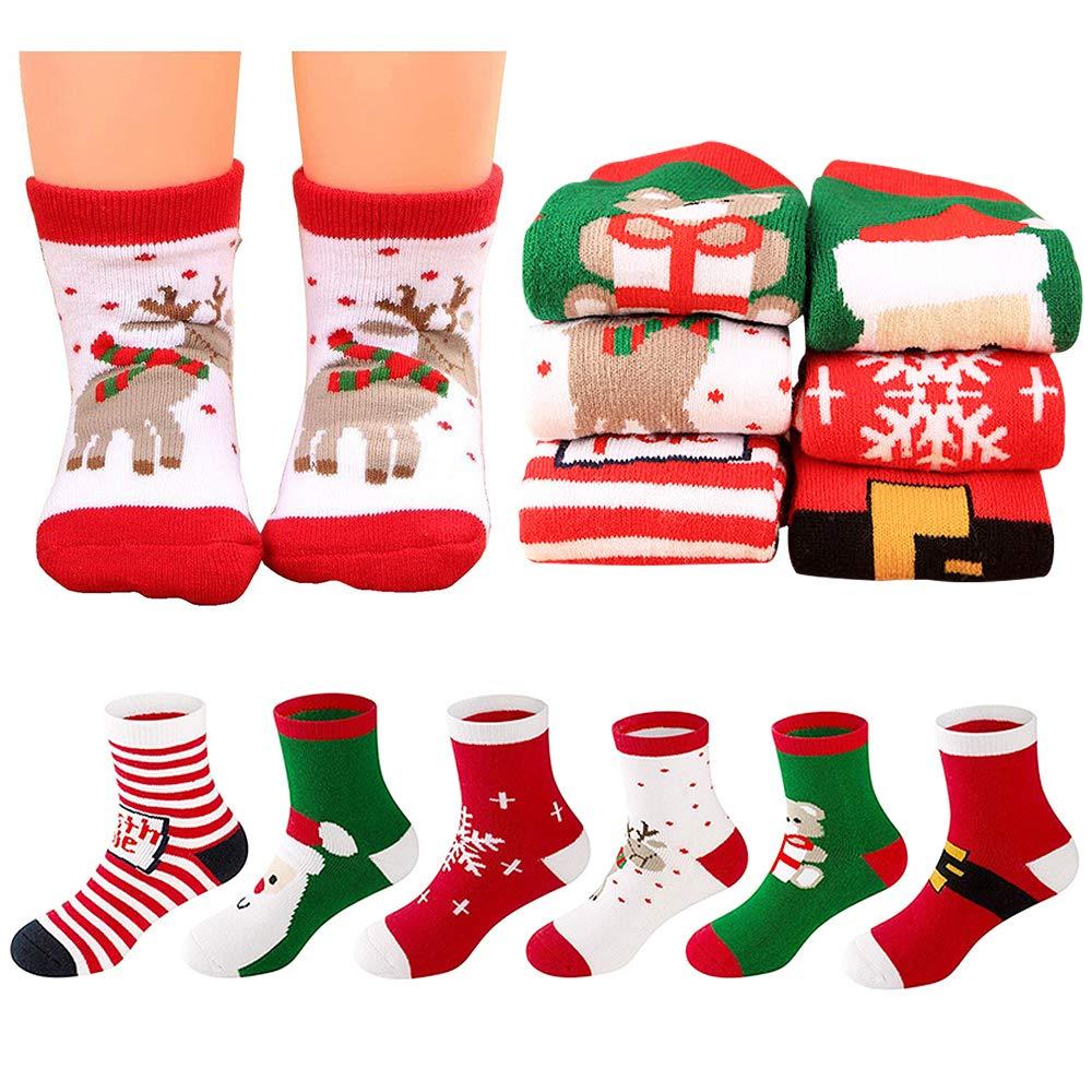 MMTX 6 Pares Navidad Calcetí n Lindo de Algodó n Animal de Dibujos Animados Reno de Santa Claus Antideslizante Unisex Calcetines de Navidad Regalos para Niñ o 0-10T