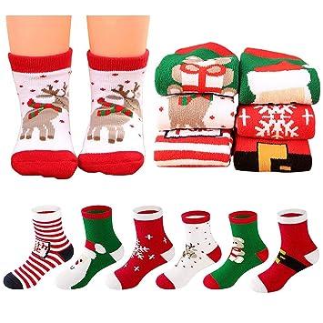 MMTX Navidad calcetín Lindo de algodón Animal de Dibujos Animados Reno de Santa Claus Antideslizante Unisex 6 Pares Calcetines de Navidad Regalos para niño ...