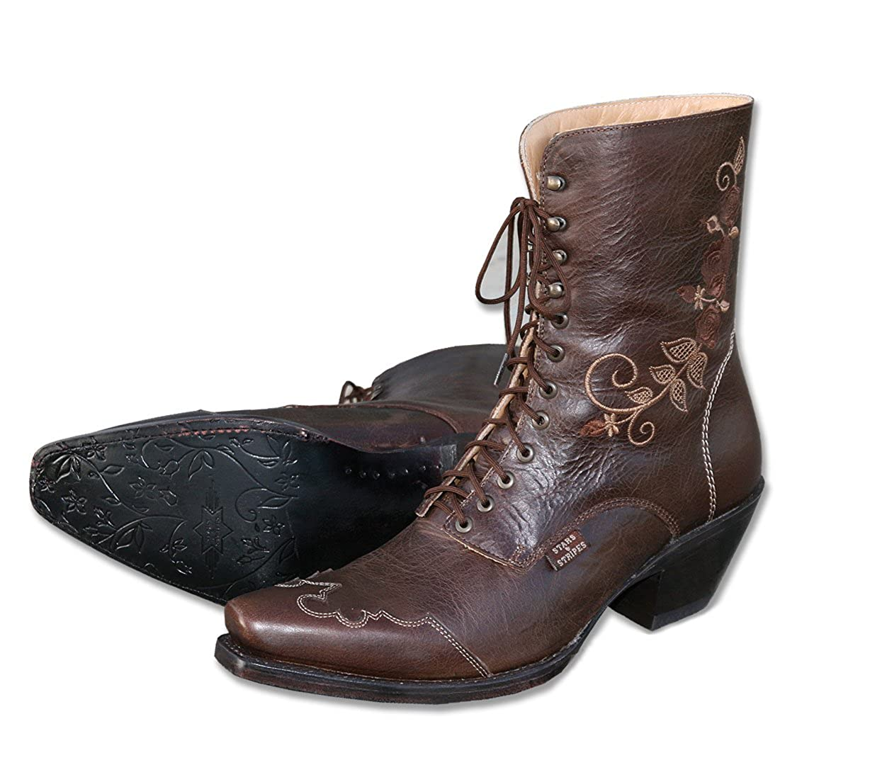 STARS & STRIPES Damen-Westerstiefel Rosie Braun Cowboystiefel BZW. Cowboy Stiefel & Bikerstiefel Westernstiefel Stiefeletten für Frauen BZW. Damen Braun