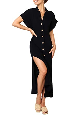 06b8348e7df Merryfun Women s Short Sleeve Loose Shirt Dress Button Down Long Dress Side  Slit at Amazon Women s Clothing store