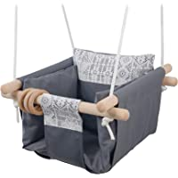 Jozeit Canvas Swing Hammock Seat Chair with Cushion - Grey Lace Decor, for Kids Baby Toddler Children