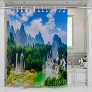 BEISISS Creative Home Bathroom Shower Curtain,Waterfall3,Perfect for Bathroom Decor with Hooks