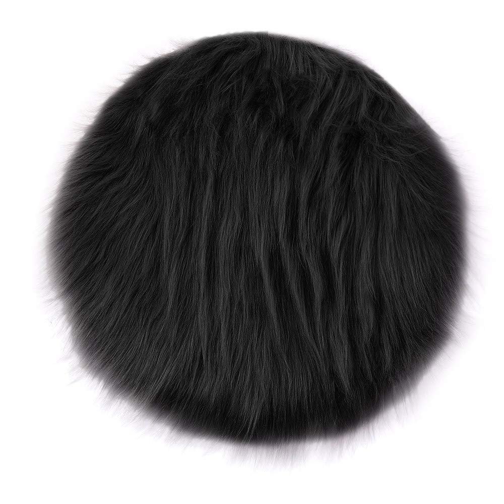 Rambling Soft Round Artificial Sheepskin Rug Chair Cover Artificial Wool Warm Hairy Carpet Seat for Bedroom,Livingroom,Indoor,Diameter:11.7''/15.6''/23.6''