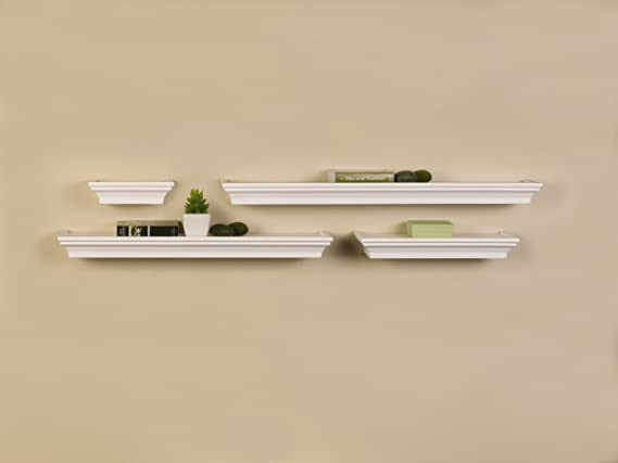 Set of 4, MELANNCO Floating Wall Mount Molding Ledge Shelves Black